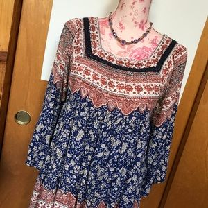 Blu pepper lined BoHo tunic/dress, dolman sleeves